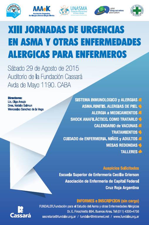 XIII JORNADAS de URGENCIAS en ASMA                                     y otras ENFERMEDADES                               ALERGICAS para ENFERMEROS