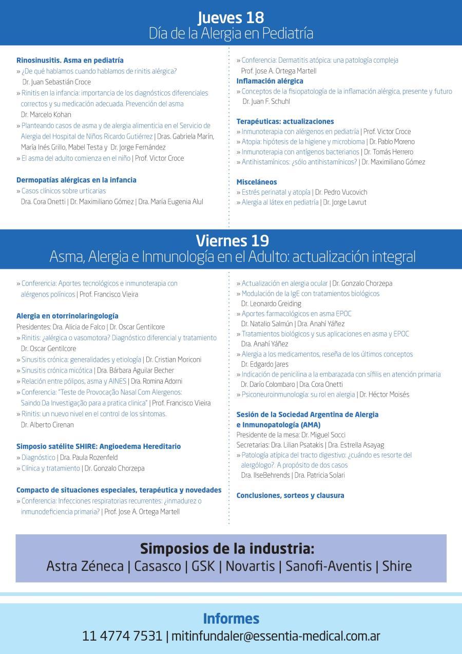 Dorso programa II mitín internacional de asma, alergia e inmunología