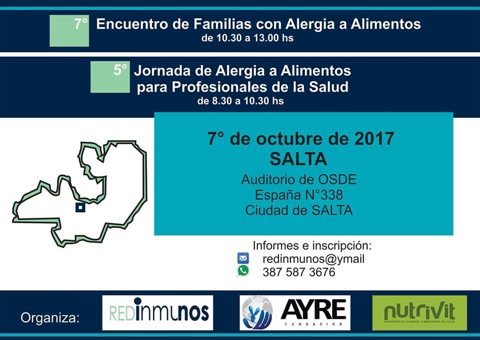7° Encuentro de Familias con Alergias a Alimentos, 5° Jornadas de Alergia a Alimentos para Profesionales de la Salud