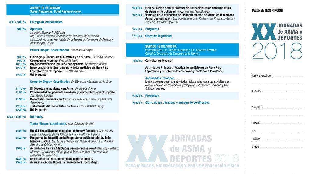 XX Jornadas de Asma y Deportes - edición 2018 - programa interior