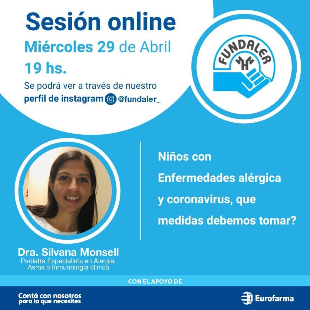 Sesión online del 29 de abril a cargo de la Dra. Silvana Monsell